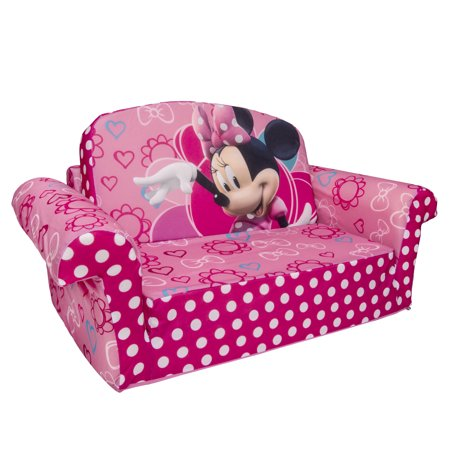 Marshmallow Furniture, Children's 2 in 1 Flip Open Foam Sofa, Disney Minnieâ s Bow-tique, by Spin Master