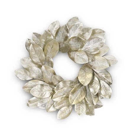 Set of 2 Golden Silver Magnolia Leaf and Berry Artificial Wreath 21