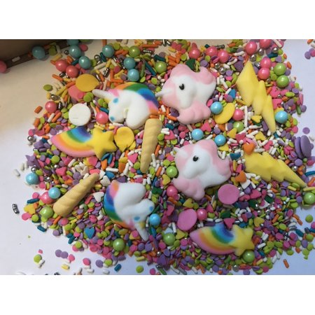 On Sale Unicorn Sprinkle Mix Horn Rainbow Cupcake Sprinkles Edible Confetti Party Sugar Decorations 6 Ounces