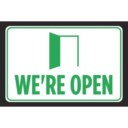 We're Open Green Door Black Signs Business Store Front Window Poster Office