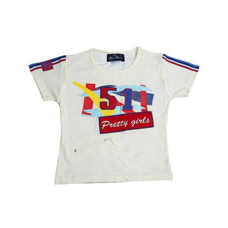 Miss Jeans - Big Girls Short Sleeved Tee Cream / - Cream Girls Shirt
