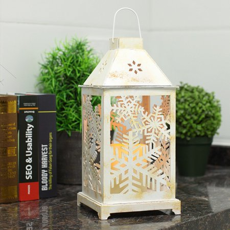 Christmas Lantern Led Candles With Timer Battery Operated Decorative Vintage Tree Decor Outdoor Indoor Use White