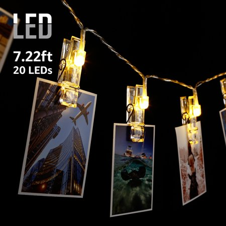TORCHSTAR 7.22 ft 20 LEDs Photo Clip String Lights, Battery Powered, Utility Ambiance Lighting for Valentine' s Day, Wedding, Reunion, Living Room, Bedroom, Party (12 Ambiance Track Lighting)