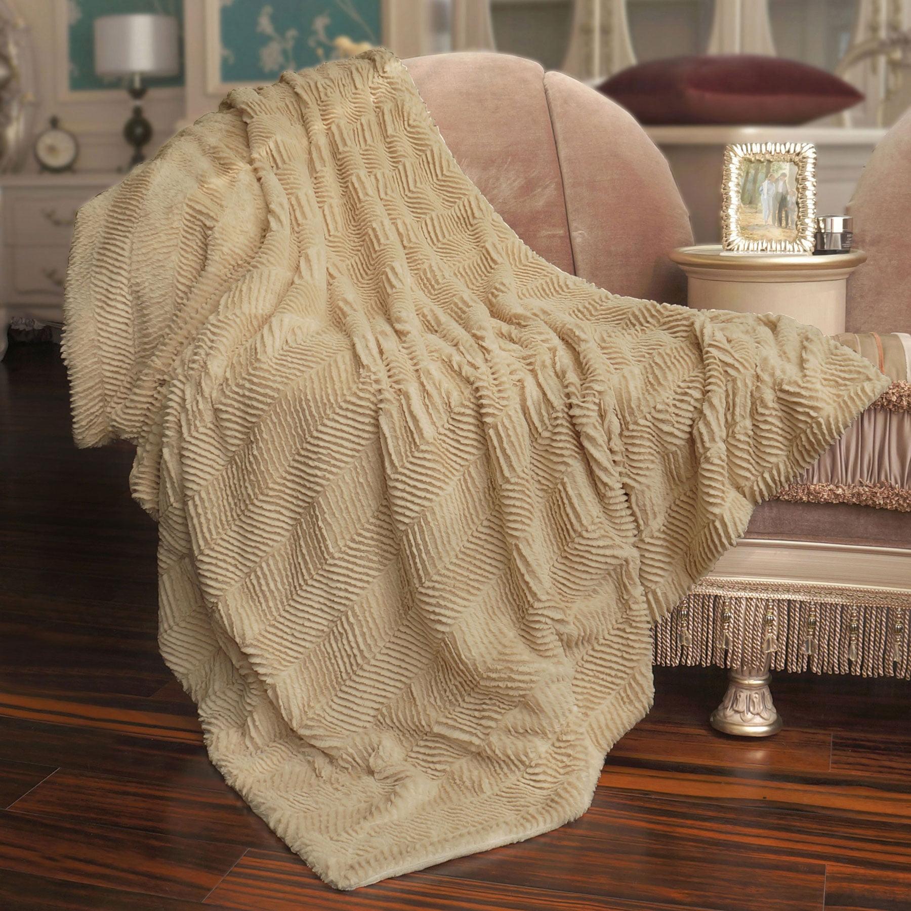 BOON Throw & Blanket Herringbone Faux Fur Throw Blanket