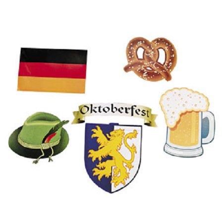 Oktoberfest Decorations Cheap (Lot of 12 Assorted Cardboard Oktoberfest Cutouts Beerfest Party)