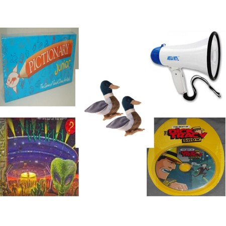 Children's Gift Bundle [5 Piece] -  Pictionary Junior The  of Quick Draw (1999) - Mega-Sound Megaphone  - Pair of Ty Beanie Babies Jake The Duck  - Alien World Pop-Ups  - The Best of the Dick (Best Christmas Gift For A Duck Hunter)