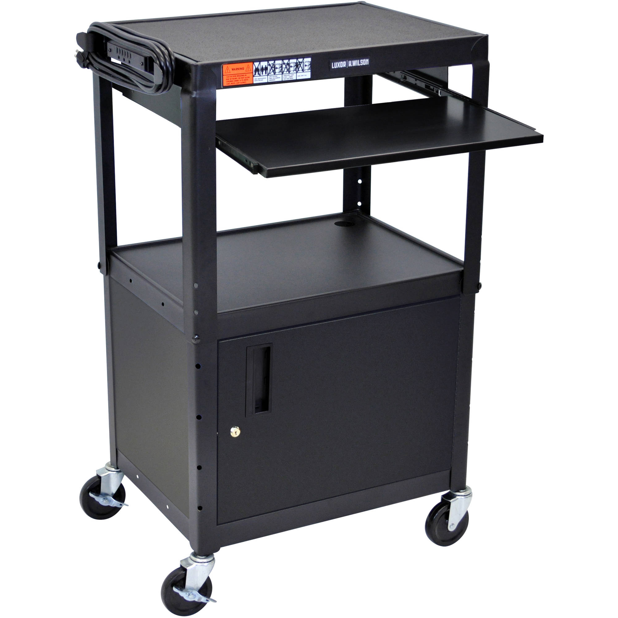 Luxor Steel Adjustable Height A/V Cart with Cabinet and Pullout Keyboard Tray