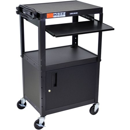 Luxor Steel Adjustable Height A/V Cart with Cabinet and Pullout Keyboard
