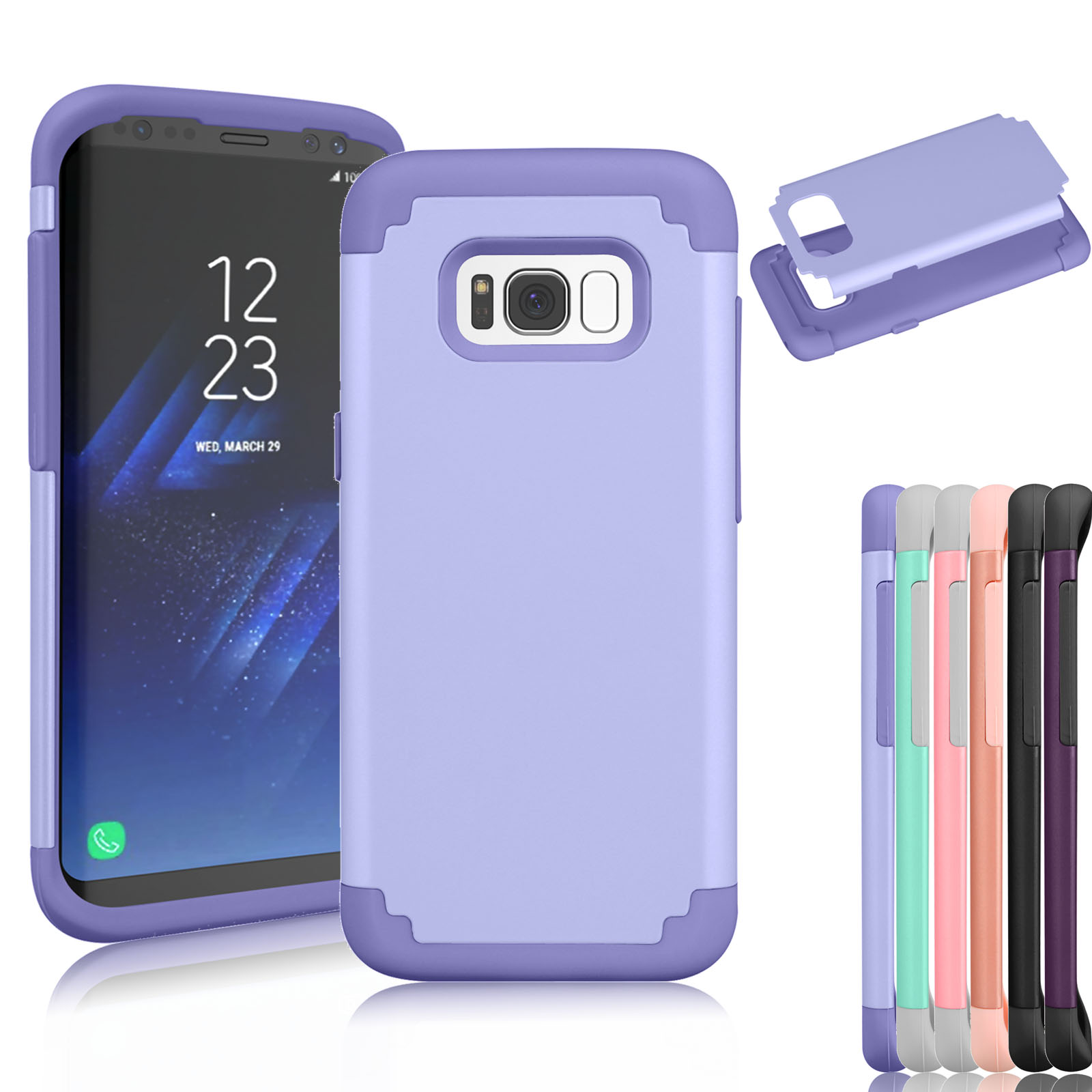 Galaxy S8 Case, Samsung S8 Case For Girls, Njjex [Lavender] Hybrid Rugged Rubber Shock Absorbing Plastic Impact Defender Hard Case Cover For Samsung Galaxy S8 S VIII GS8