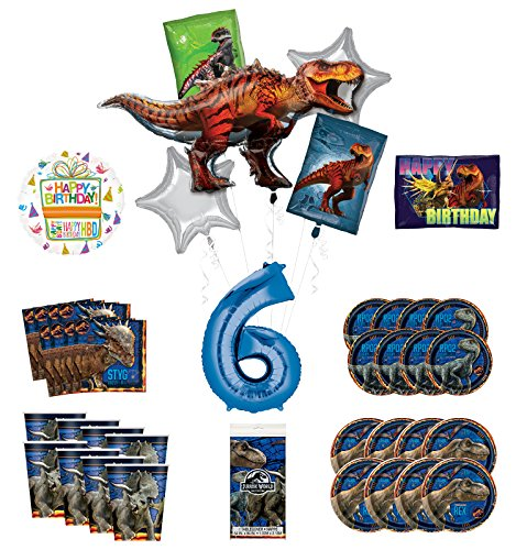 Mayflower Products Jurassic World 6th Birthday Party Supplies and 8 Guest Balloon Decoration Kit
