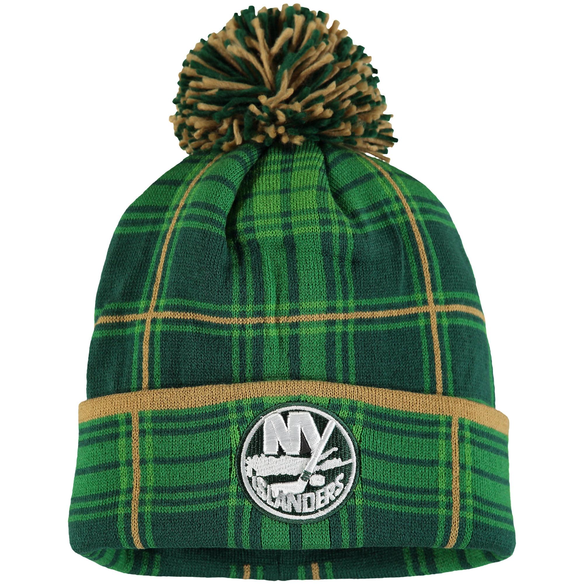 New York Islanders Reebok St. Patrick's Day Cuffed Knit Hat with Pom Green OSFA by REEBOK/SLD/ADIDAS INDY