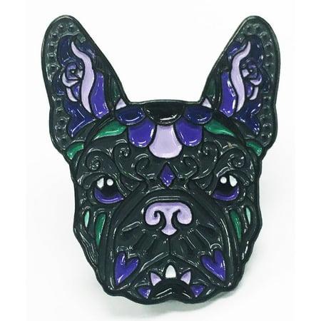 French Bulldog Black Purple Sugar Skull Tattoo Breed Dog Lover Enamel Lapel - Sugar Skull Tatoo