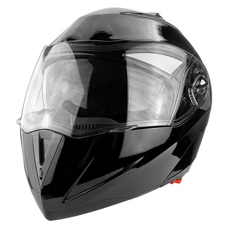 DOT Full Face Gloss Black Modular Motorcycle Helmet With Flip-Up Visor & Vented Ports