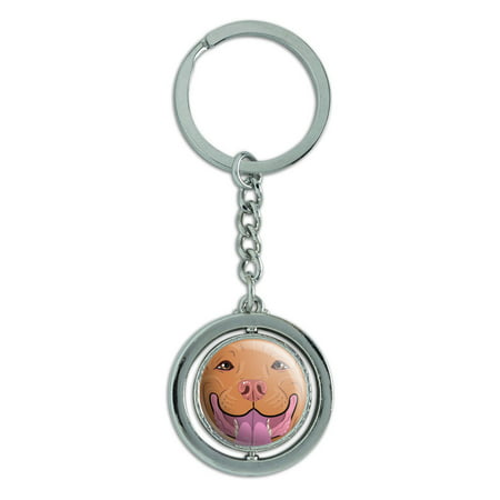 Red Pit Bull - Pit Bull Face Red Nose Pet Dog Spinning Circle Metal Keychain