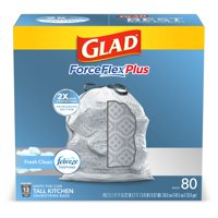 Glad Tall Kitchen Trash Bags, 13 Gallon, 80 Bags (ForceFlexPlus, Fresh Clean)