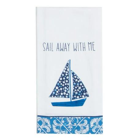 (Kay Dee Waters Edge Sailboat Sail Away With Me Flour Sack Kitchen Dish Towel)