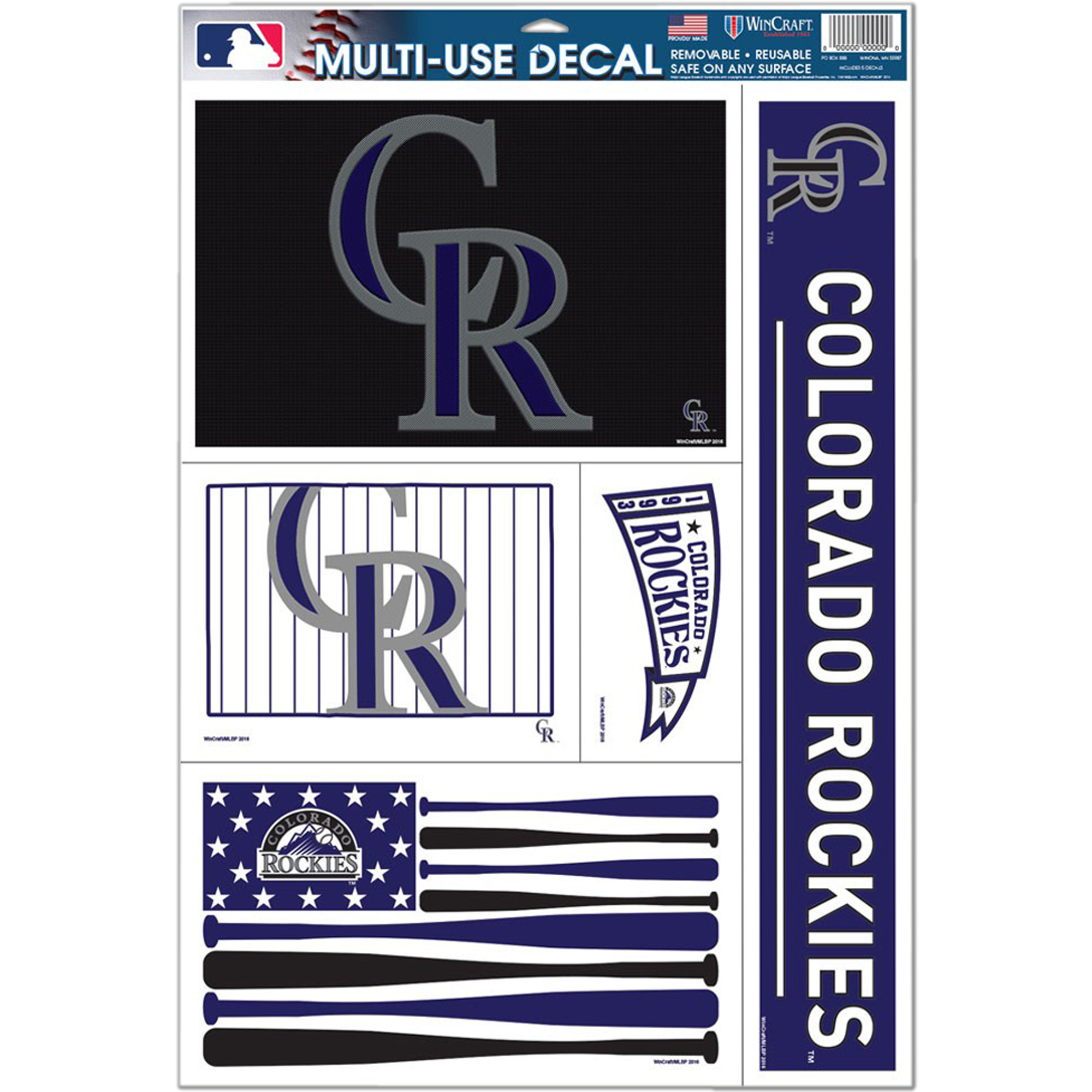"""Colorado Rockies WinCraft 11"""" x 17"""" Stars and Stripes Multi-Use Decal Sheet - No Size"""