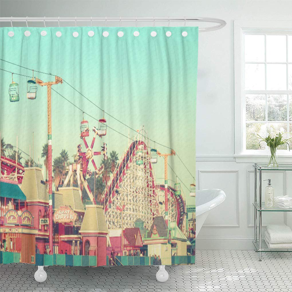 CYNLON Photography Santa Cruz Nostalgia Beach Boardwalk Amusement Park  Roller Bathroom Decor Bath Shower Curtain 8x8 inch - Walmart.com