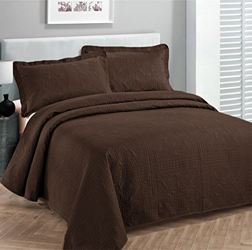 Fancy collection 3pc Bed Spread Embossed Bedsocover Solid Over size King / California king Coffee / Brown New