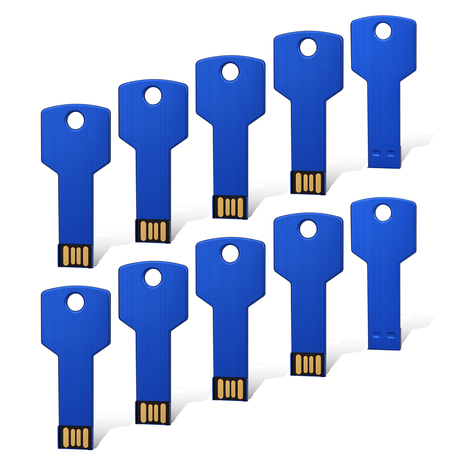 KOOTION 10PCS 1GB 1G USB Flash Drive Metal Key Design USB Flash Drive Metal Key Shaped Memory Stick USB 2.0 Blue 1G