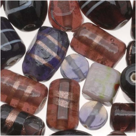 (Lampwork Glass Beads 'Vineyard Purple Mix' Assorted Styles & Shapes (8.5 oz))