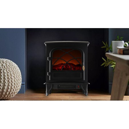 Caesar Fireplace FP203-T3 Portable Indoor Home Compact Electric Wood Stove Fireplace Heater with Thermostat for Office and Home