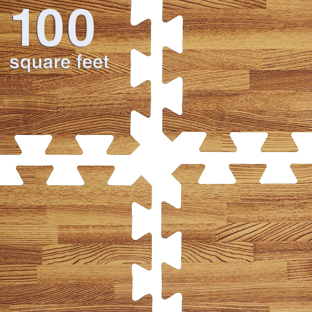 Clevr 100 SqFt EVA Light Wood Grain Foam Mat Interlocking Flooring 25pcs Oak