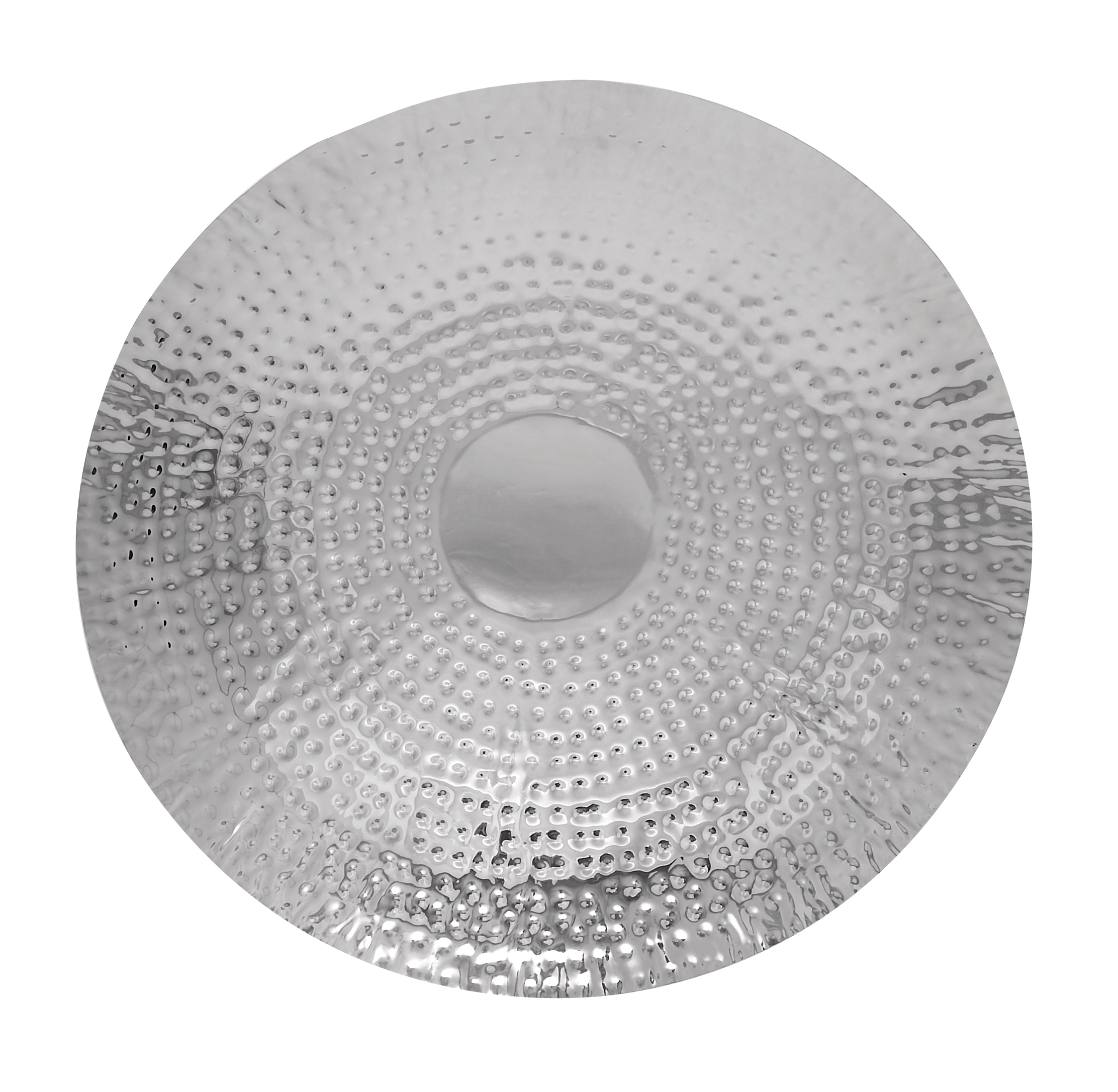 Decmode Modern 24 x 24 Inch Silver Dimpled Metal Disc Wall Decor