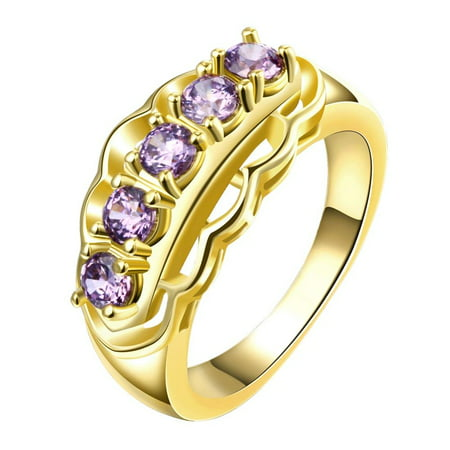 Aventura Jewellery Gold Plated Purple Citrine Accent Gems Ring Size