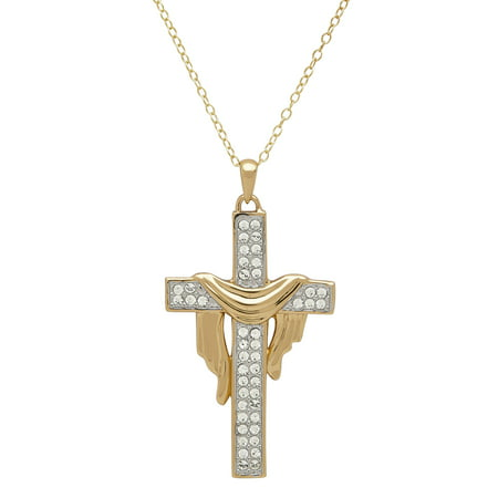 "18K Gold over Sterling Silver Shrouded Cross Pendant with Swarovski Elements, 18"" Necklace"