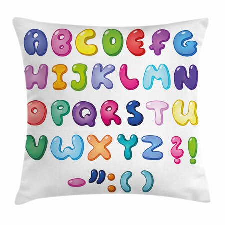 Letters Throw Pillow Cushion Cover, Bubble Shaped 3D Style Alphabet Set Colorful Kids Children Design Comic Typeset, Decorative Square Accent Pillow Case, 18 X 18 Inches, Multicolor, by Ambesonne](Bubble Letter Alphabet)