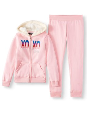 XOXO Glitter Sherpa Active Hoodie and Jogger, 2-Piece Active Set (Little Girls & Big Girls)