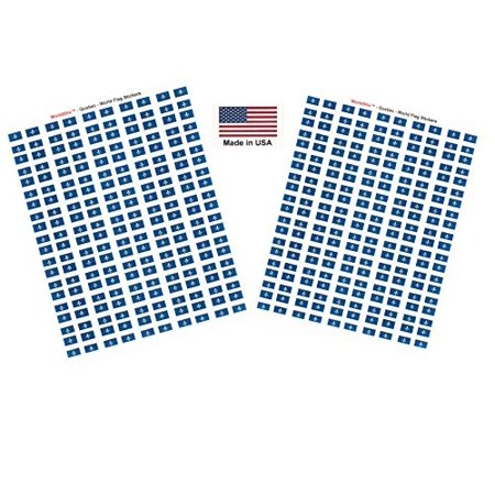 "Made in USA! 100 Quebec 1.5"" x 1"" Self Adhesive Flag Stickers, Two Sheets of 50, 100 Quebec Sticker Flags Total"