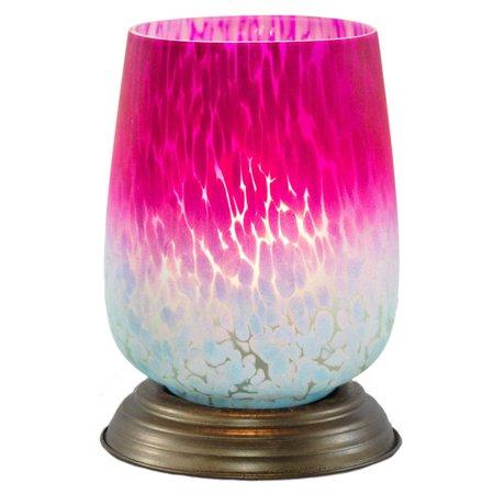 - Glass Memory Lamp - Medium 0 -  Pink Bordeaux Glass - Engraving Sold Separately