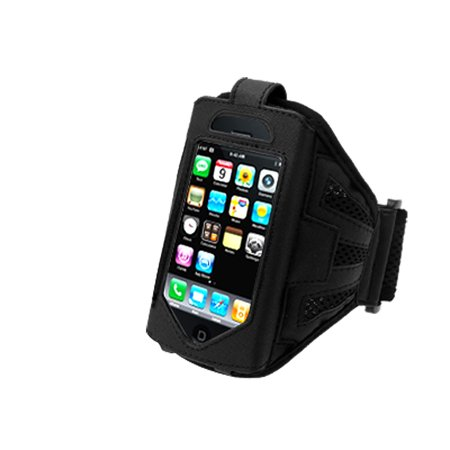 Running Exercise Sport Armband Case Holder with Flap Black for Apple iPhone 3G - image 1 of 1