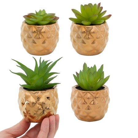 Home Trends 4 Pack Fake Succulent Plants In Gold Pot Artificial Decor Office