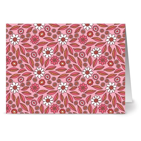24 Note Cards - Blossoms and Leaves - Blank Cards - Hot Pink Envelopes Included