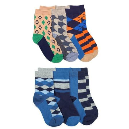 Jefferies Socks Boys Socks, 6 Pack Diamond Stripe Fashion Pattern Crew Sizes XS - M