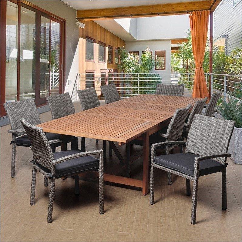 Winston 11-Piece Eucalyptus/Wicker Extendable Rectangular Patio Dining Set with Grey Cushions