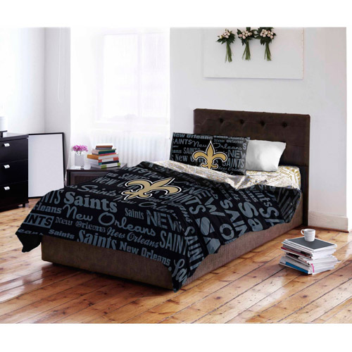 nfl new orleans saints bed in a bag complete bedding set - walmart