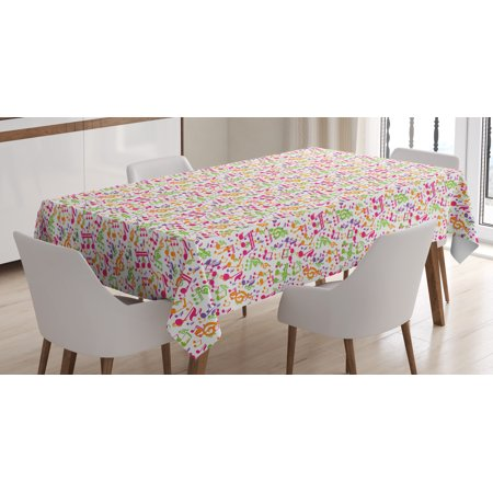 Music Tablecloth, Inspirational Sound Vibes Theme Sonic Rhythm Melody Cheerful Musical Notes Print, Rectangular Table Cover for Dining Room Kitchen, 52 X 70 Inches, Multicolor, by Ambesonne - Music Themed Tablecloths