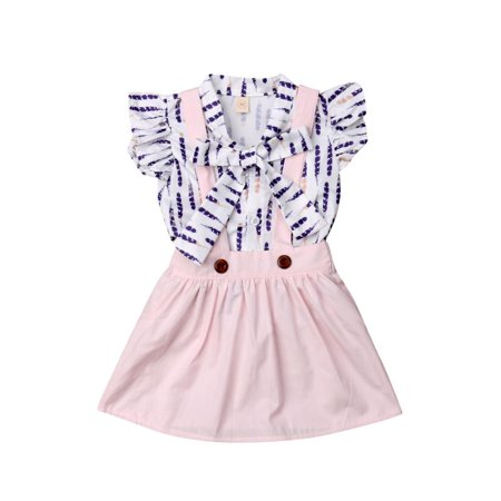 Toddler Kids Baby Girls Feather Ruffled Bowknot Blouse Shirt Top + Suspender Overall Skirts 2PCS Outfit -