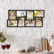 Collage Picture Frame with 8 Openings for 4x6 Photos- Wall Hanging Multiple Photo Frame Display for Personalized Decor by Lavish Home (Black)