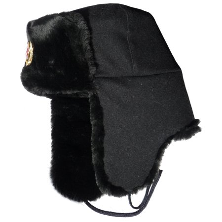 Ushanka winter hat Russian Navy Seaman Black.