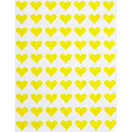 Heart label sticker in Yellow- 1/2 (0.5 inch) 13mm heart stickers for envelopes, invitation seals, gift packaging, boxes and bags - 350 pack by Royal green … ()