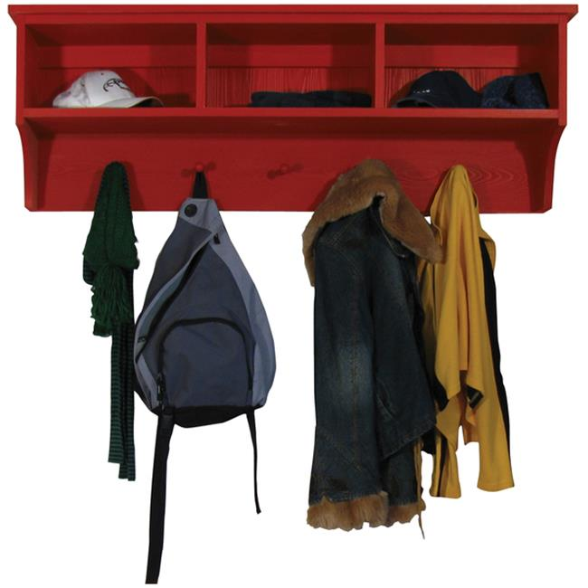 Sawdust City Storage Shelf with Cubbies and Pegs, Red
