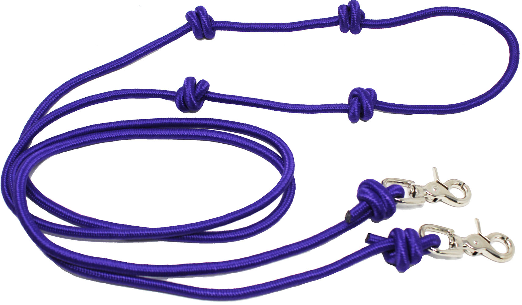 Roping Knotted Horse Tack Western Barrel Reins Nylon Braided~Purple /& Black New