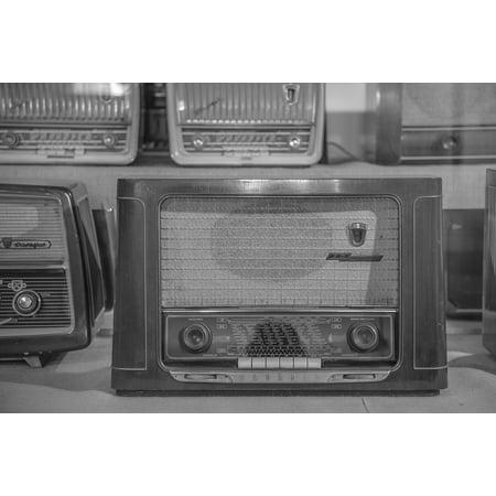 Old Retro Speakers Tube Radio Radio Antique Poster Print 24 x (Antique Tube Radios)