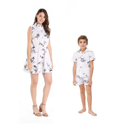 78b3e2e9c Hawaii Hangover - Matching Mother Son Hawaiian Luau Outfit Women Shirt  Dress Boy Shirt Shorts Classic Map Flamingo in White XL-2 - Walmart.com