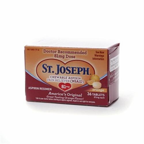 St. Joseph Aspirin 81mg Chewtabs, Orange  36 Tablets (Pack of 3)